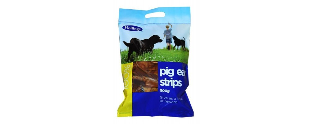 Hollings Pigs Ears Strips 500g Carry Bag