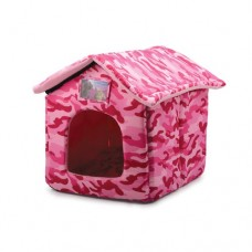 Ancol House Pet Bed - Pink Combat