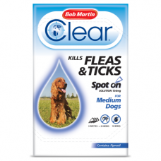 Bob Martin Clear Spot On Medium Dog, 3 Flea Tick Treatments