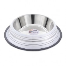 Sharples and Grant Stainless Steel Stripey Bowl - White 30cm