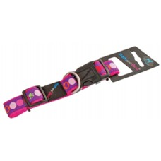 Hem and Boo Pink Circles Ribbon Adjustable Collar 1.2cm x 25-35cm