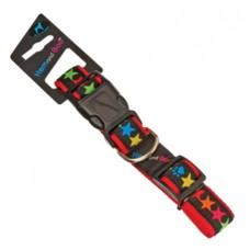 Hem and Boo Black Stars Adjustable Ribbon Collar 1.2cm x 25-35cm