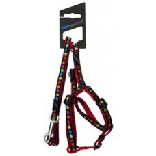 Hem and Boo Black Stars Puppy Harness and Lead Set 3/8