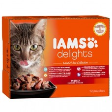 Iams Delights Cat Pouches Land and Sea in Jelly 12x85g