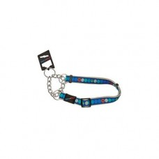 Hem and Boo Blue Circles Ribbon Training Collar 1.2cm x 25-35cm