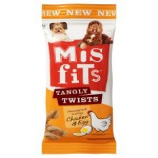 Misfits Tangly Twists - Chicken & Egg Dog Chews 140g